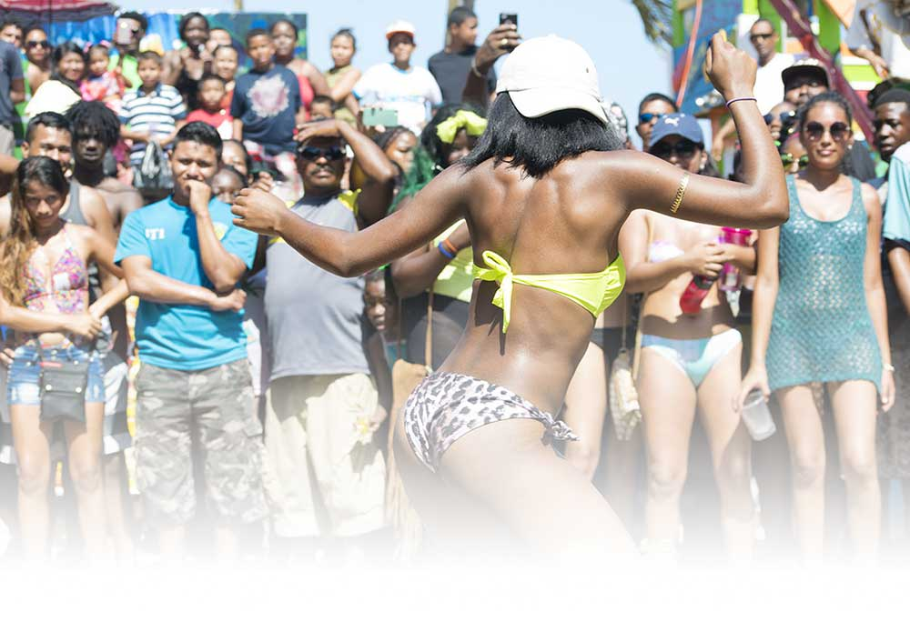 Greasy Pole at Mango Fest 2016 in Hopkins, Belize